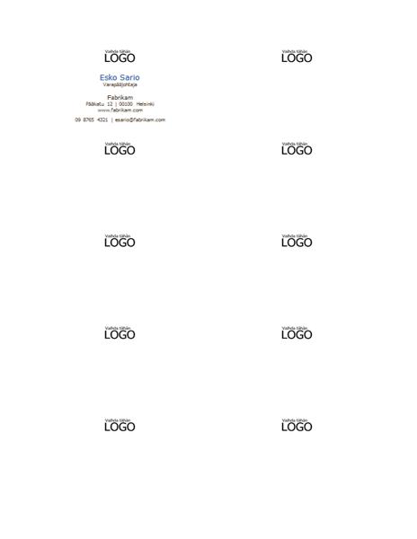 Käyntikortit, vaakasuuntainen rakenne, logo ja nimi isoin alkukirjaimin