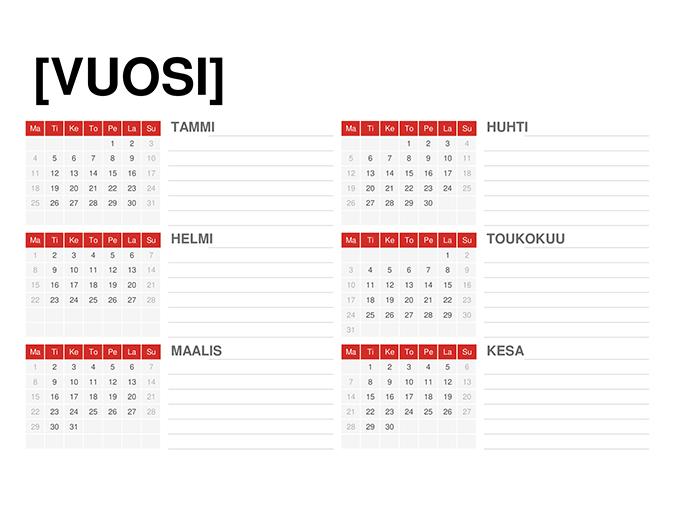 Kalenteri mille tahansa vuodelle