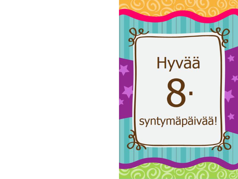Syntymäpäiväkortti - tähdet ja raidat (lapset)