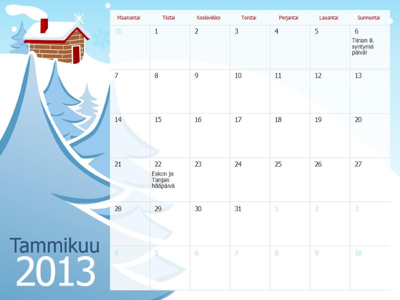 Kuvitettu vuodenaikakalenteri 2013, ma-su