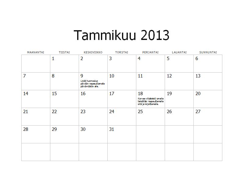 Vuoden 2013 perinteinen kalenteri (ma-su)