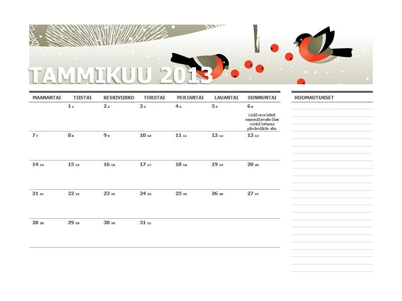 Vuoden 2013 juliaaninen kalenteri (ma-su)