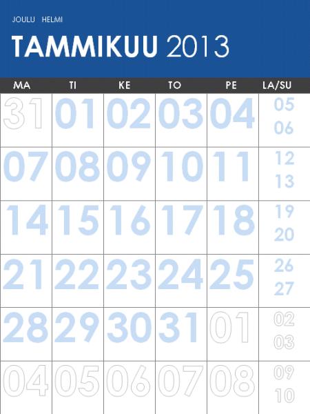 Monivärinen vuosien 2013–2014 kalenteri (ma-su)
