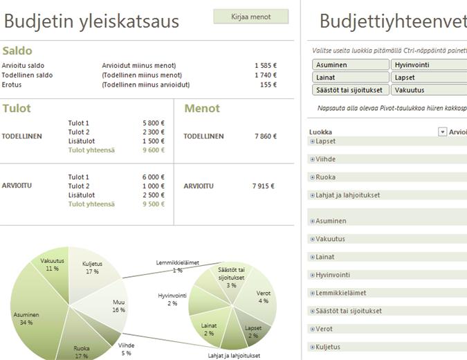 Perheen budjetti kaavioilla