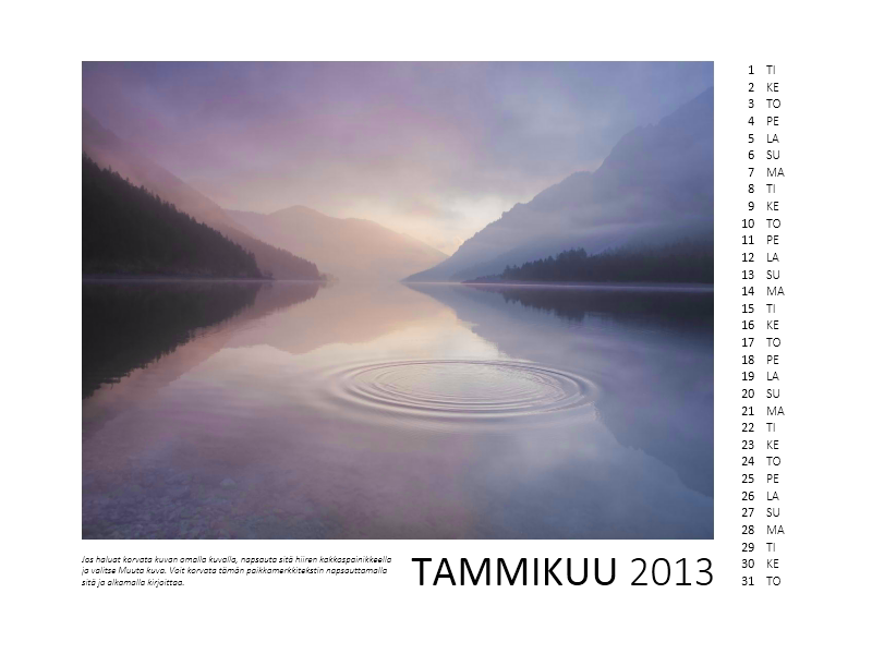 12 kuukauden valokuvakalenteri vuodelle 2013