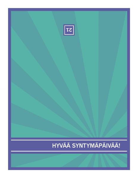 Tasavuosien syntymäpäiväkortti, sinisiä säteitä vihreällä taustalla