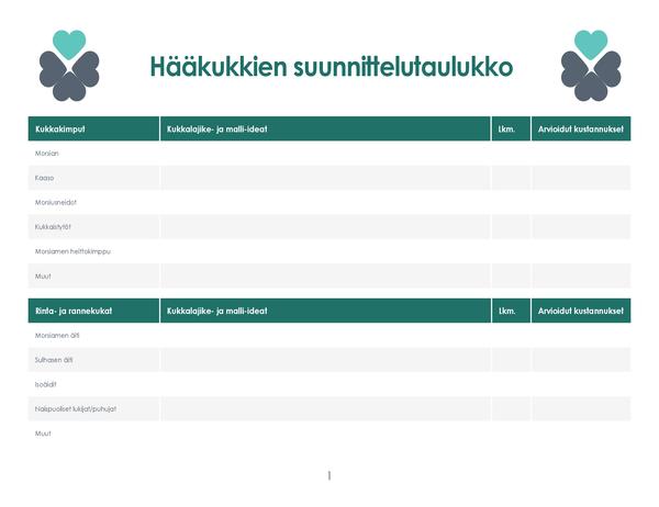 Hääkukkien suunnittelutaulukko (4 sivua)