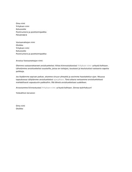 Vastaanoton vahvistuskirje työnhakijalle