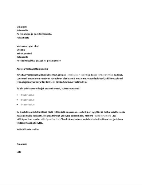 Mallisaatekirje vastaukseksi ilmoitukseen teknisen alan työpaikasta