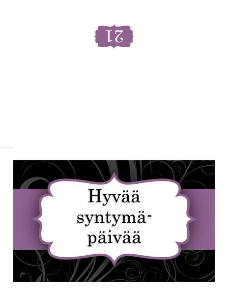 Syntymäpäiväkortti (violetti nauha)