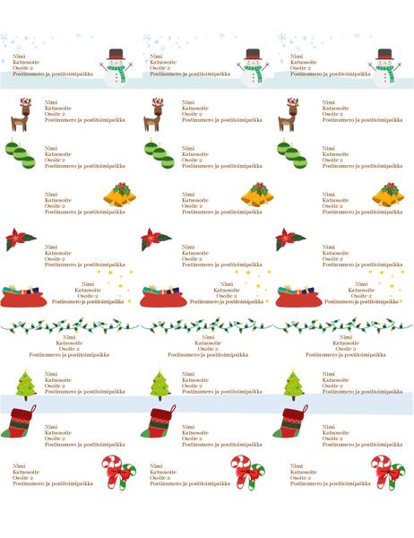 Pakettikortit (Joulun henki -malli, 30 per sivu, yhteensopiva Avery 5160:n kanssa)