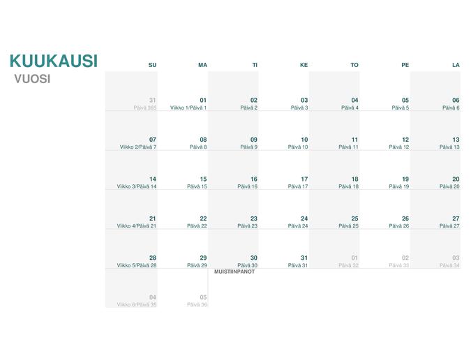 Juliaaninen kalenteri (mikä tahansa vuosi)