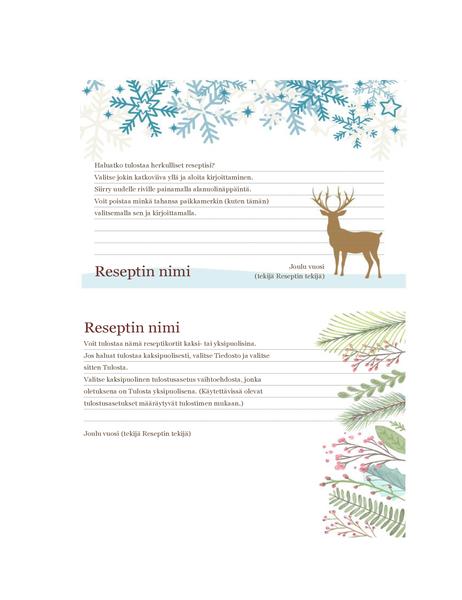 Reseptikortit (Joulun henki -malli, yhteensopiva Avery 5889:n kanssa, 2 per sivu)