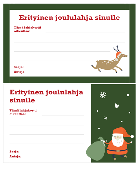 Jouluaiheinen lahjakortti (Joulun henki -teema)