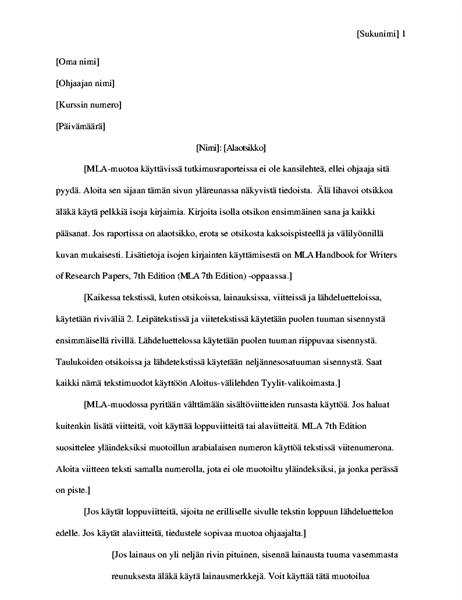 MLA-tyylinen tutkimusraportti