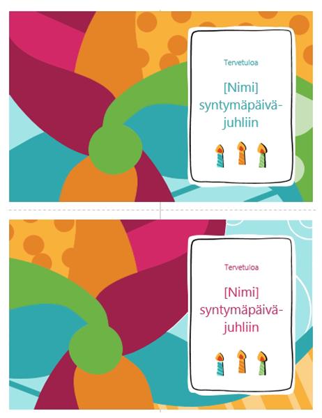 Syntymäpäiväjuhlien kutsukortti (kaksi sivulla, värikäs malli)