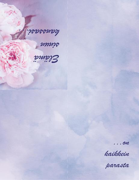 Romanttinen kortti (jossa on ruusu, neljään osaan taitettava)