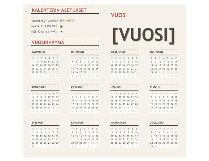 Juhlapäivät sisältävä kalenteri mille tahansa vuodelle