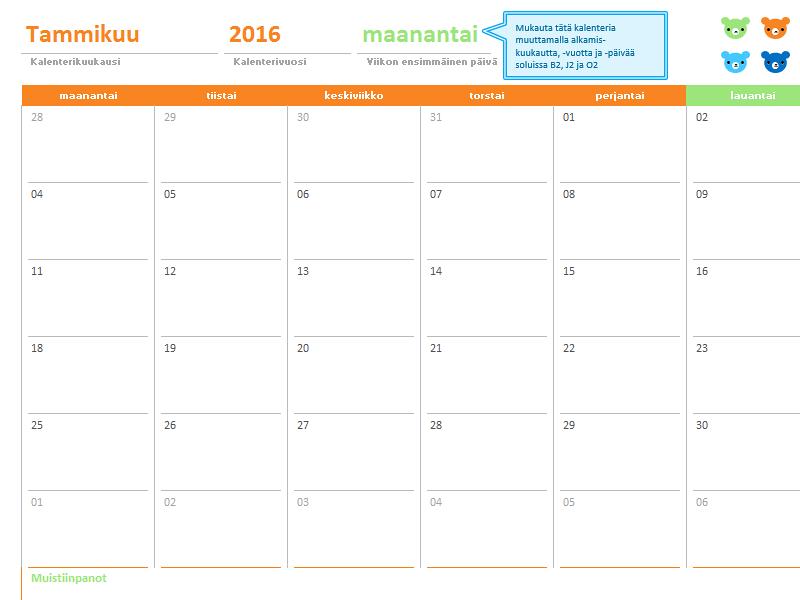 Kuukausikalenteri (12 sivua, värikkäät nallet)