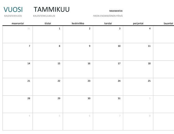 Minkä tahansa vuoden yhden kuukauden kalenteri