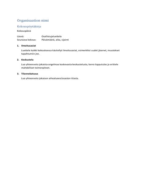 Kokousmuistiinpanot (lyhyt muoto)