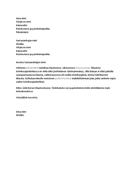 Kirje, jossa asiakkaalle ilmoitetaan toimituksen epäonnistumisesta