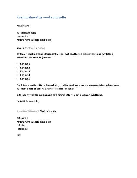 Korjausilmoitus vuokralaiselle (lomakekirje)