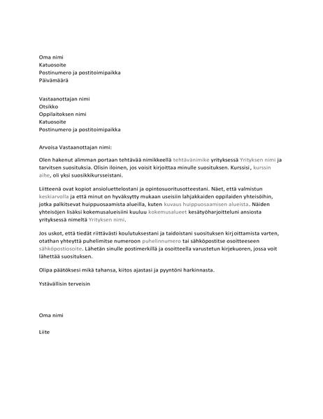Kirje opettajalle suosituksen pyytämiseksi työtä varten
