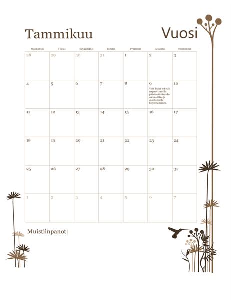 Vuoden 2018 12 kuukauden kalenteri (ma–su)