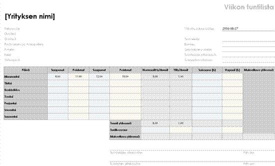 Viikkotaulukko (8 1/2 x 11 tuumaa, vaaka)