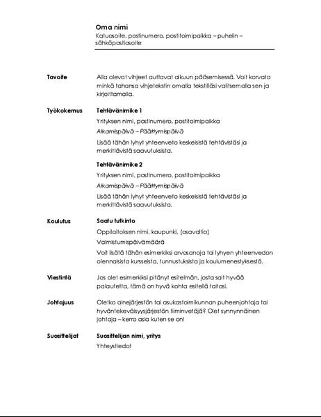 Kronologinen ansioluettelo (minimalistinen rakenne)