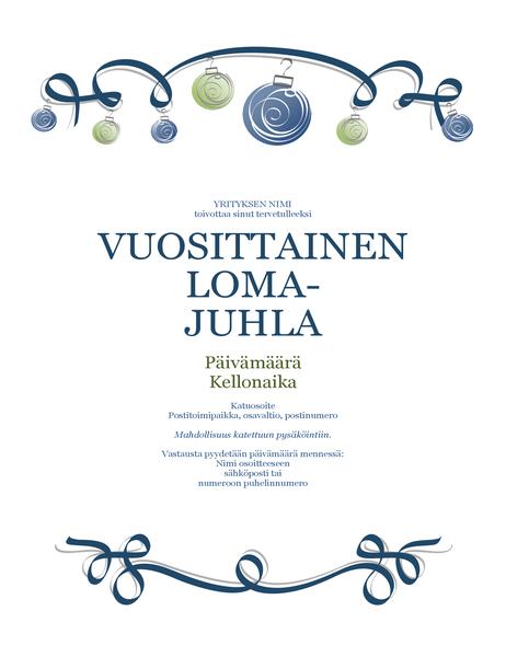 Lomajuhlalehtinen, jossa on koristelua ja sininen nauha (virallinen rakenne)