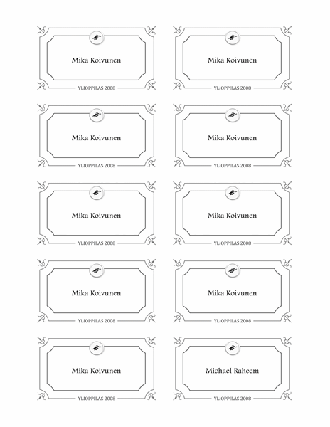 Graduation name cards (Formal design, black and white)