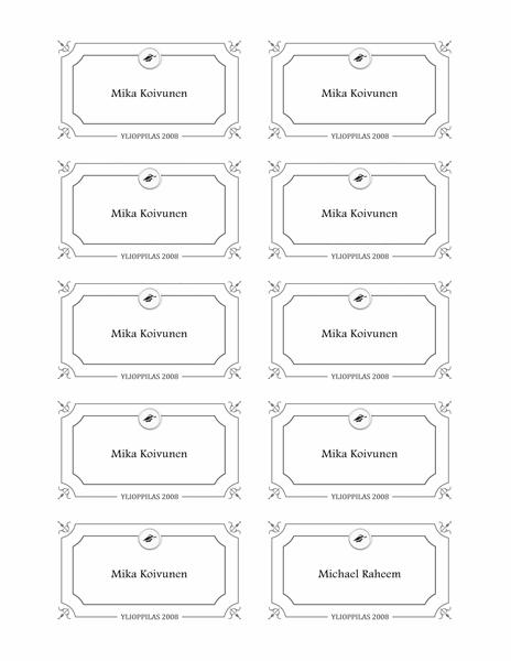 Graduation name cards (Formal design, black and white)