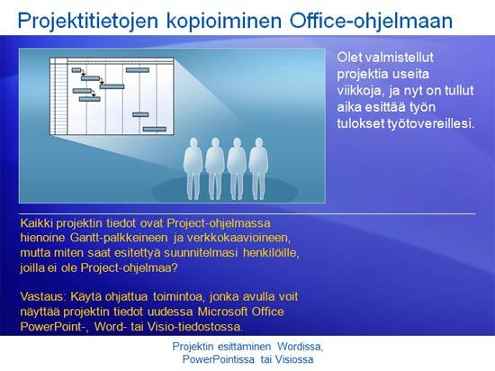 Koulutusesitys: Project 2007 - projektin näyttäminen Wordissa, PowerPointissa tai Visiossa