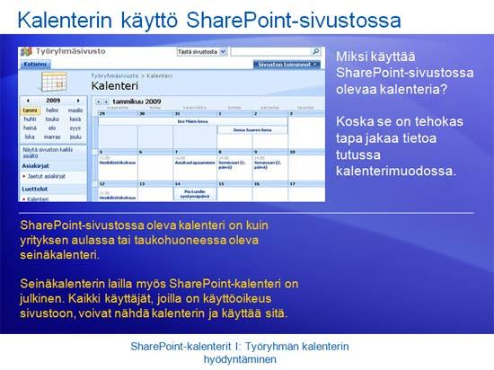 Koulutusesitys: SharePoint Server 2007 - kalenterit I: Hyödynnä työryhmäkalenteria