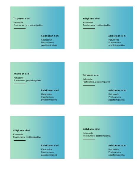 Lähetystarrat (Vihreä liukuvärikuvio, 6 kohdetta sivulla, Avery 5164 -yhteensopiva)