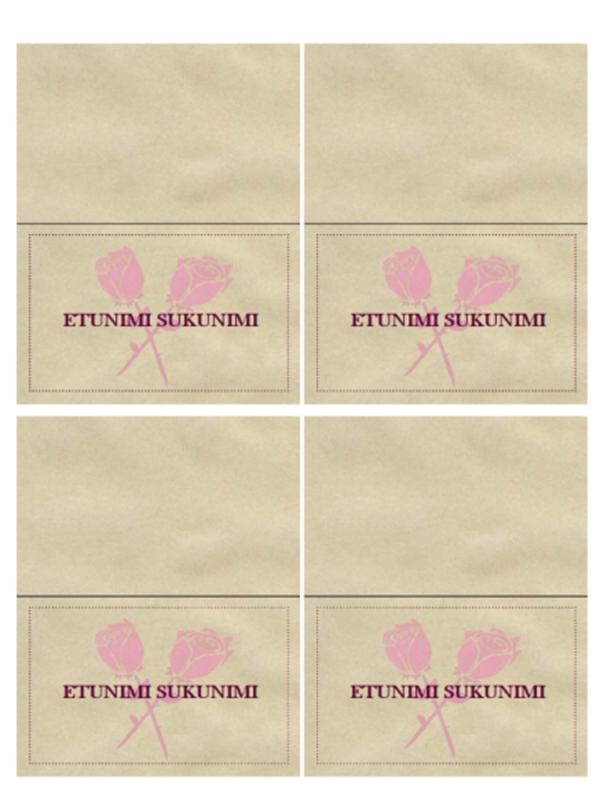 Istumapaikkakortit hääjuhliin (romanttinen)