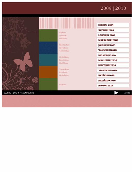 2009-2010 akateeminen- tai tilivuoden kalenteri (elokuu–elokuu, ma–su)