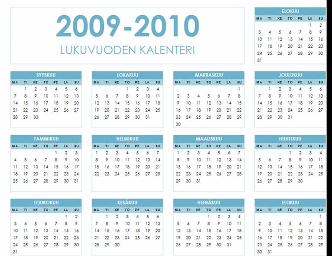 2009-2010 akateeminen kalenteri (1 sivu, vaaka, ma–su)