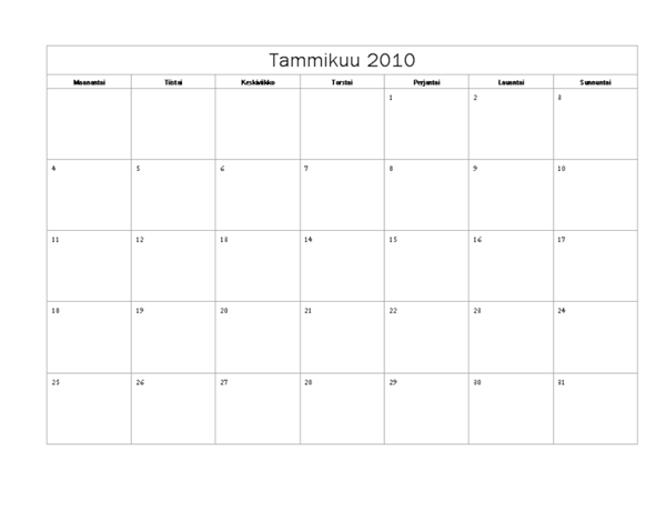 Vuoden 2010 kalenteri (perusmalli, ma–su)