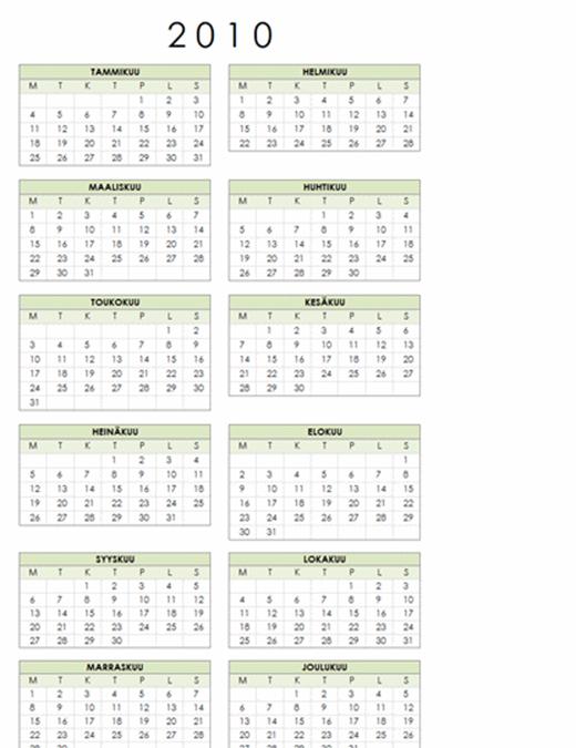 Vuoden 2010 kalenteri (1 sivu, pysty, ma–su)