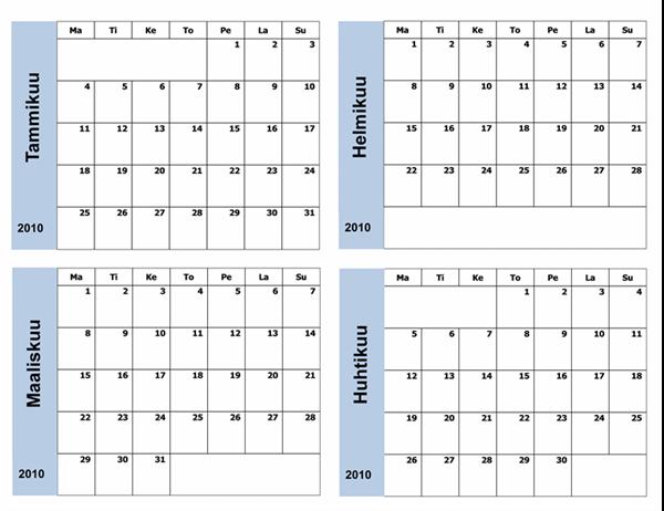Sinireunainen kalenteri 2010 (3-sivuinen, ma–su)