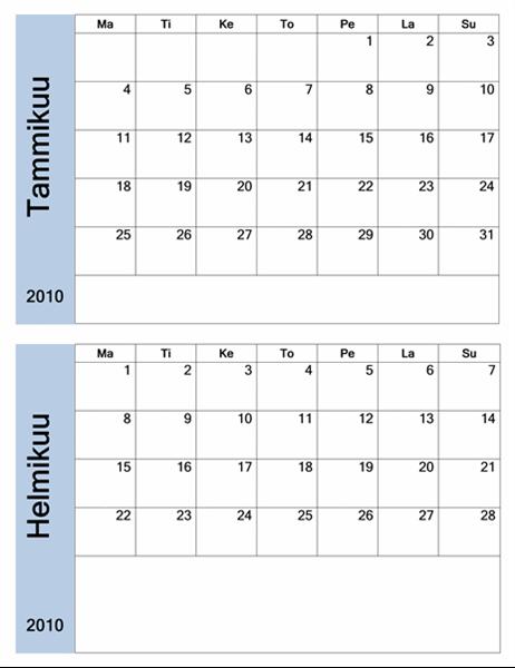 Sinireunainen kalenteri 2010 (6-sivuinen, ma–su)