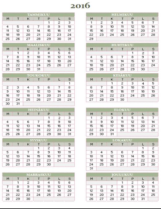 Vuosikalenteri 2016–2025 (ma–su)