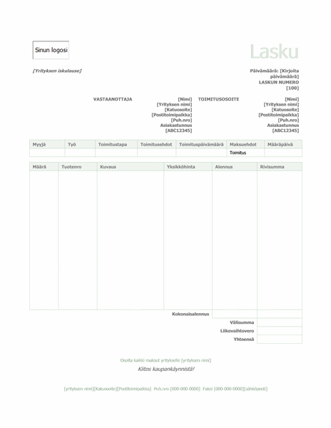 Myyntilasku (vihreä malli)