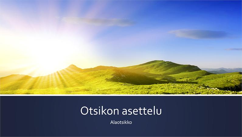 Luontoaiheinen esitys, jossa on siniset raidat ja kuva auringonnoususta vuoristossa (laajakuva)