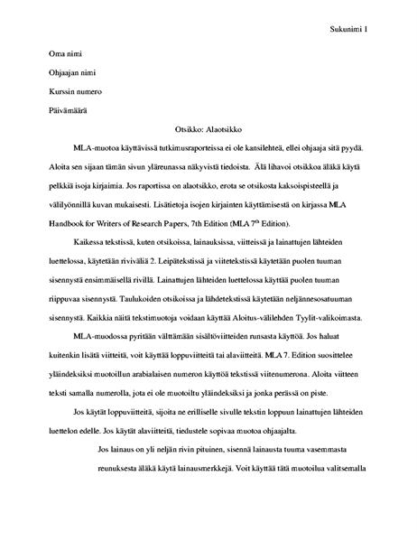 MLA-tyylinen asiakirja