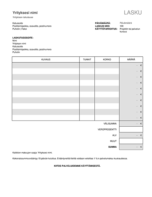 Palvelun lasku ja verolaskelma