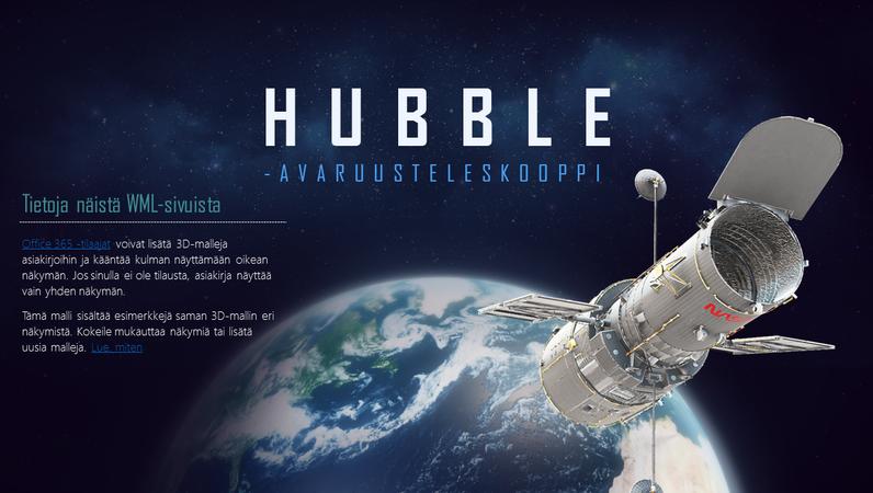 3D PowerPoint -esitys (Hubble-teleskooppi-malli)